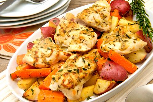 курица с овощами в микроволновке