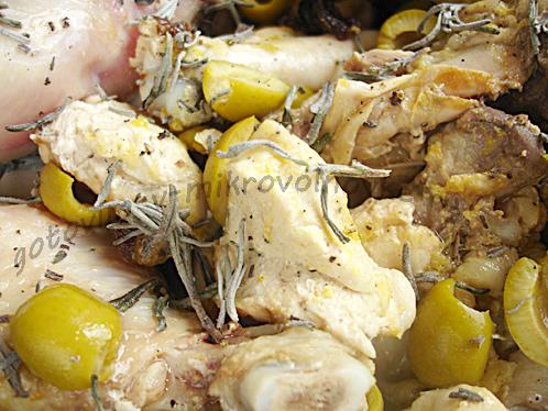 добавить оливки и розмарин