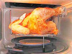 как в микроволновке пожарить курицу