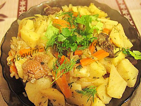 вкусные куриные потрошки с овощами
