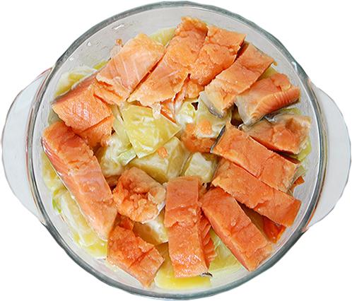 приготовление рыбы с картошкой в микроволновке