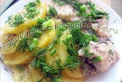как приготовить тушеную картошку с курицей