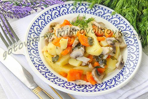 Тушеная картошка с грибами для вкусного и быстрого ужина