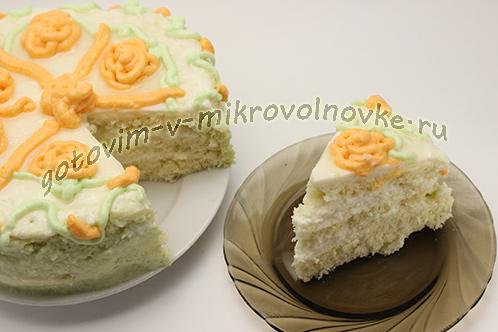 бисквитный торт в микроволновке