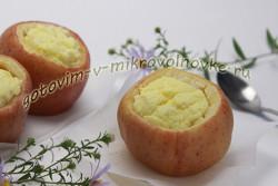яблоки запеченные с творогом в микроволновке